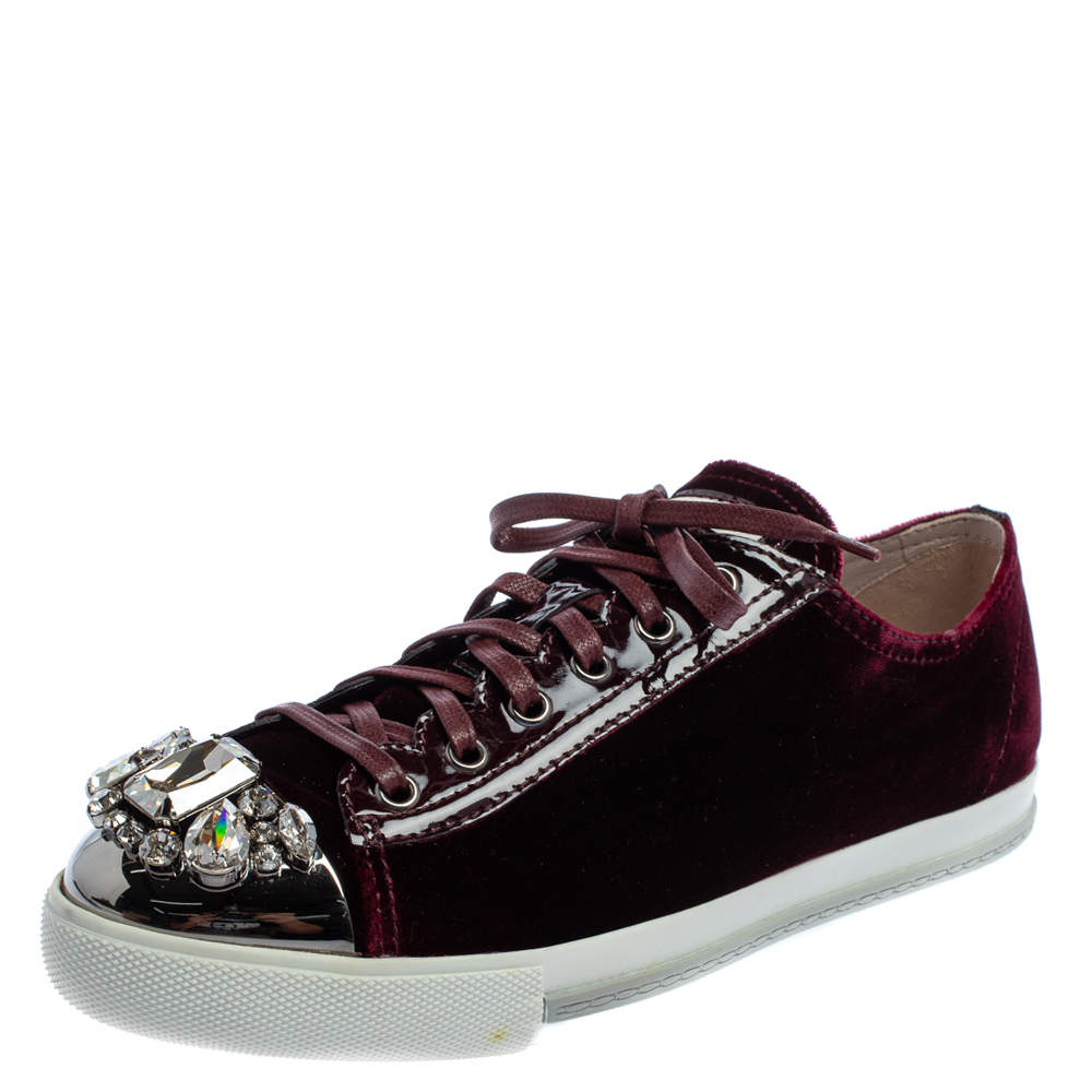 Miu Miu Burgundy Velvet Embellished Cap Toe Low Top Sneakers Size 40