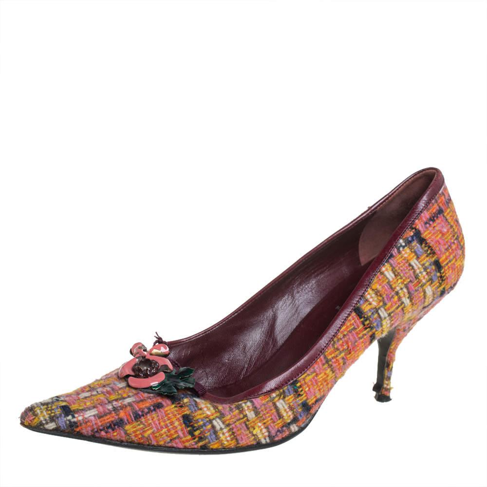 Miu Miu Multicolor Tweed Floral Embellished Pointed Toe Pumps Size 40