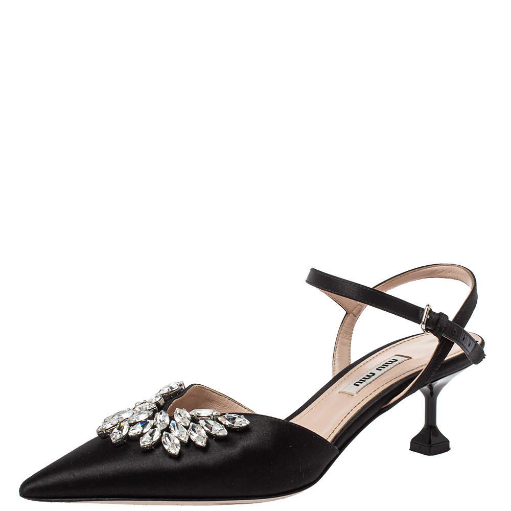 Miu Miu Black Satin Crystal Embellished Kitten Heel Ankle Strap Sandals Size 37