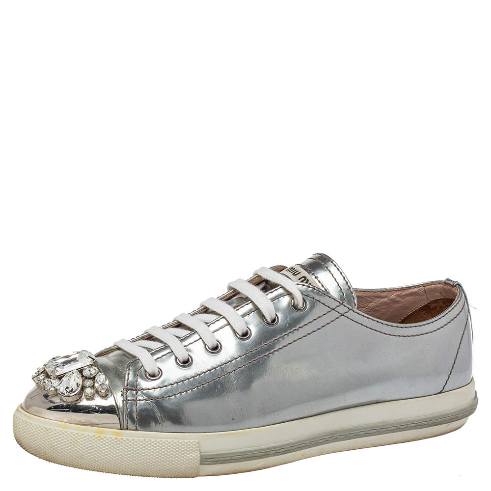 Miu Miu Silver Leather Crystal Embellished Cap Toe Lace Up Sneaker Size 40