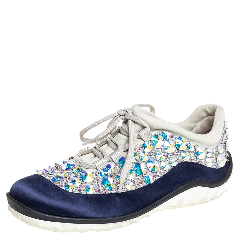Miu Miu Blue/Grey Satin And Mesh Astro Low Top Sneakers Size 37