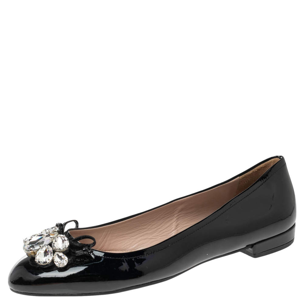 Miu Miu Black Patent Leather Crystal Embellished Bow Ballet Flats Size 36.5