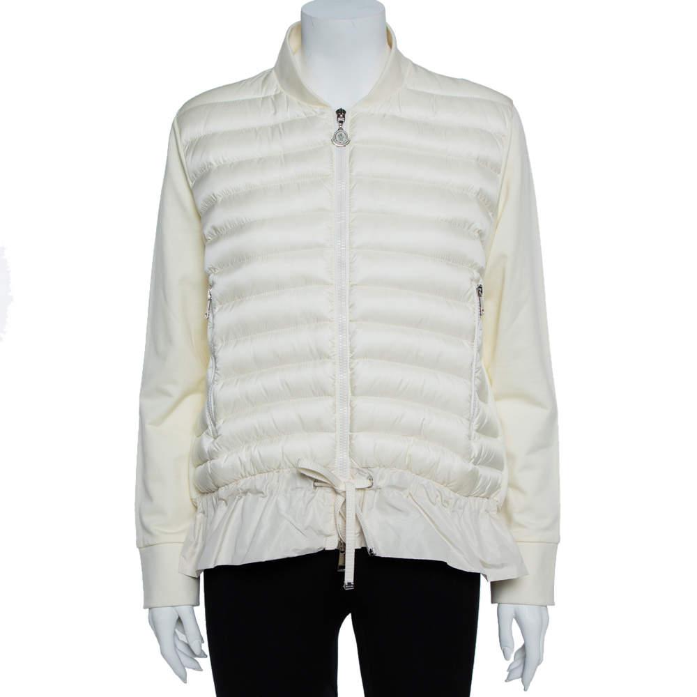 Moncler Cream White Nylon Maglia Puffer Jacket L