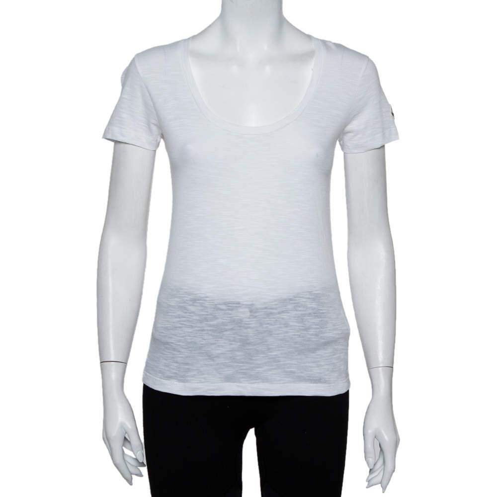 Moncler White Cotton Scoop Neck T-Shirt XS
