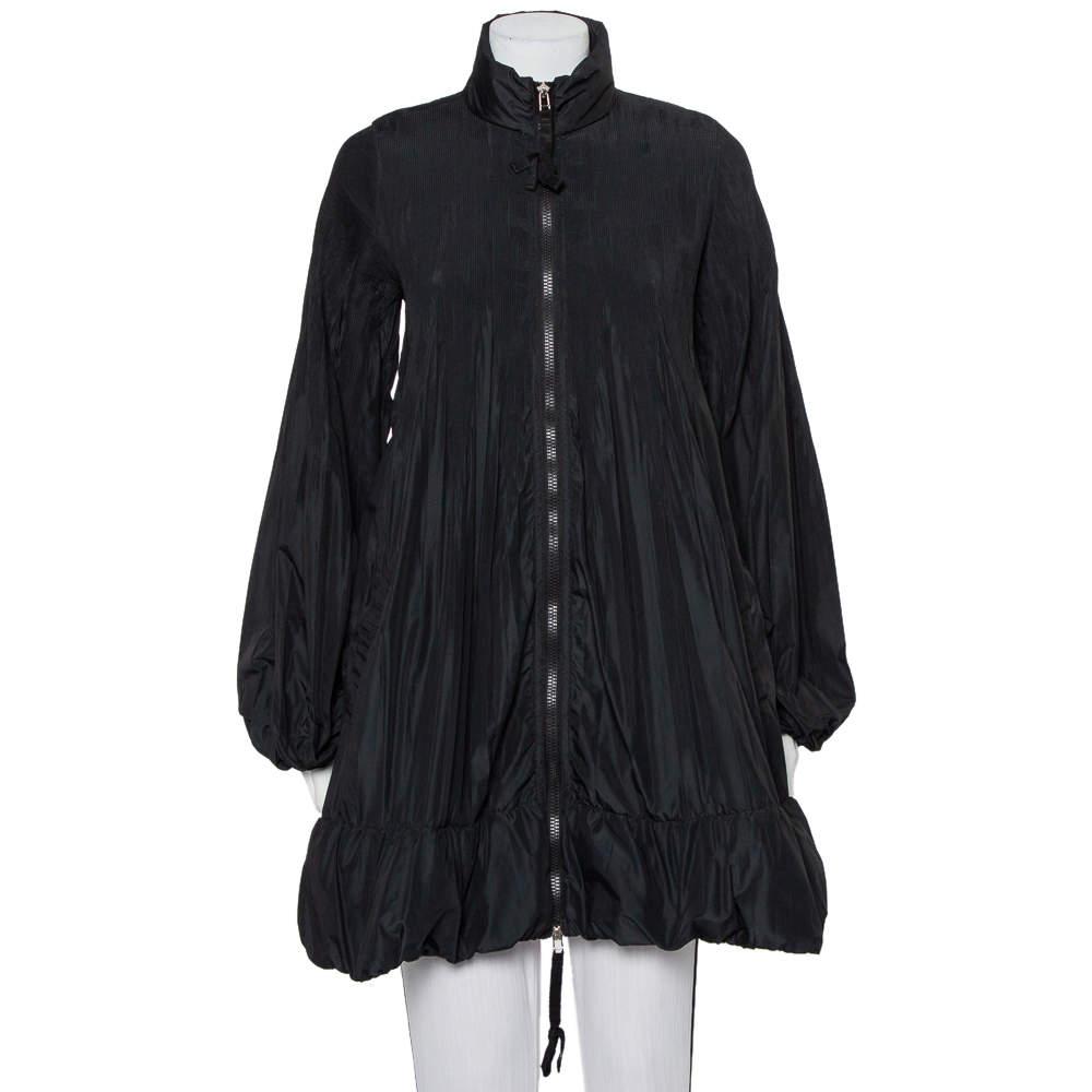 Moncler Black Synthetic Micro Pleated Detail Sizuka Coat M