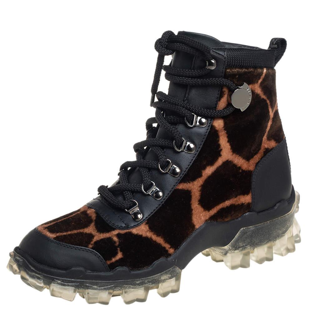 Moncler Black Leopard Print Velvet And Leather Helis Boots Size 37
