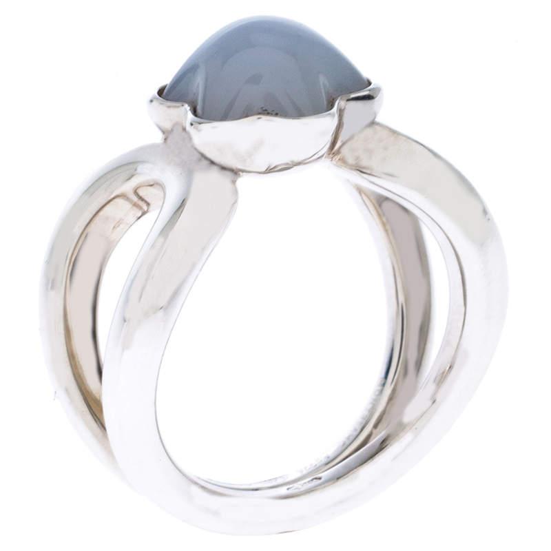Montblanc Cabochon de Montblanc Milky Quartz Silver Ring Size 50