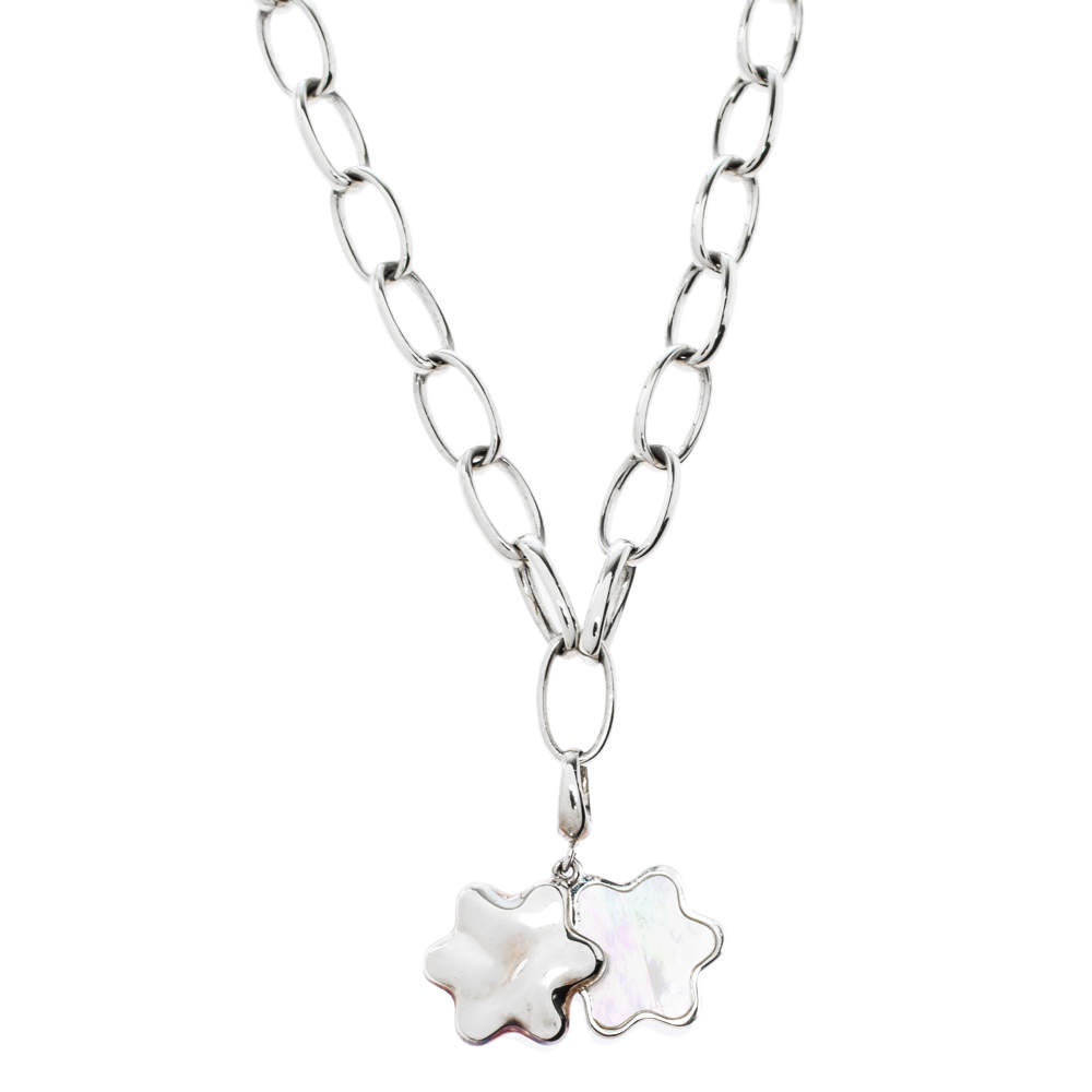 Montblanc Star Mother of Pearl Silver Chain Link Necklace