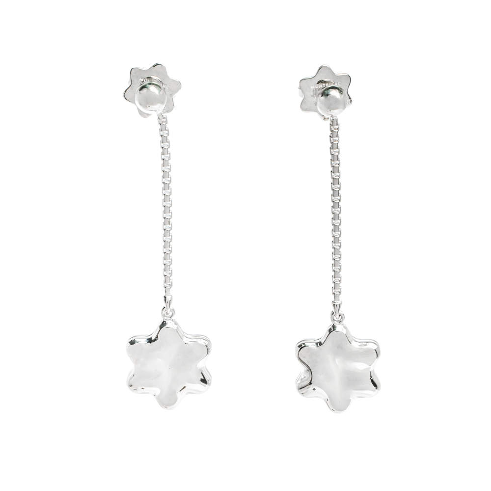 Montblanc Star Mother of Pearl Silver Dangle Earrings