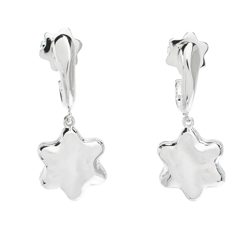 Montblanc Star Mother of Pearl Silver Drop Earrings