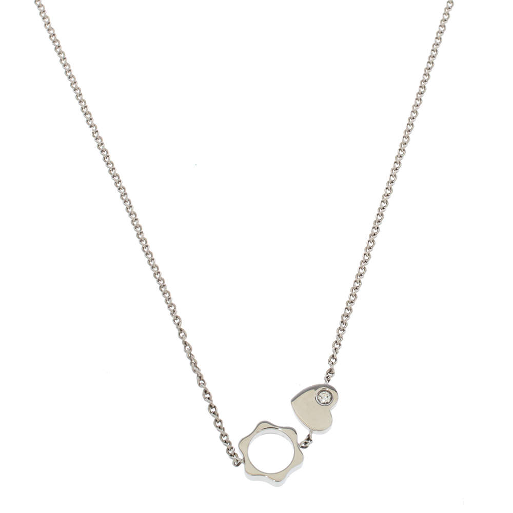 Montblanc Star Heart Charm Diamond 18K White Gold Necklace
