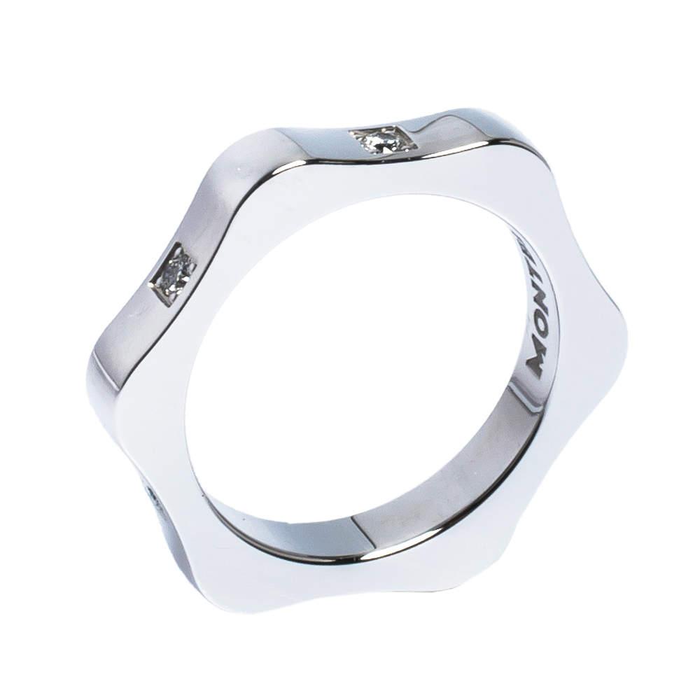 Montblanc 4810 Star Diamond 18K White Gold Band Ring 50