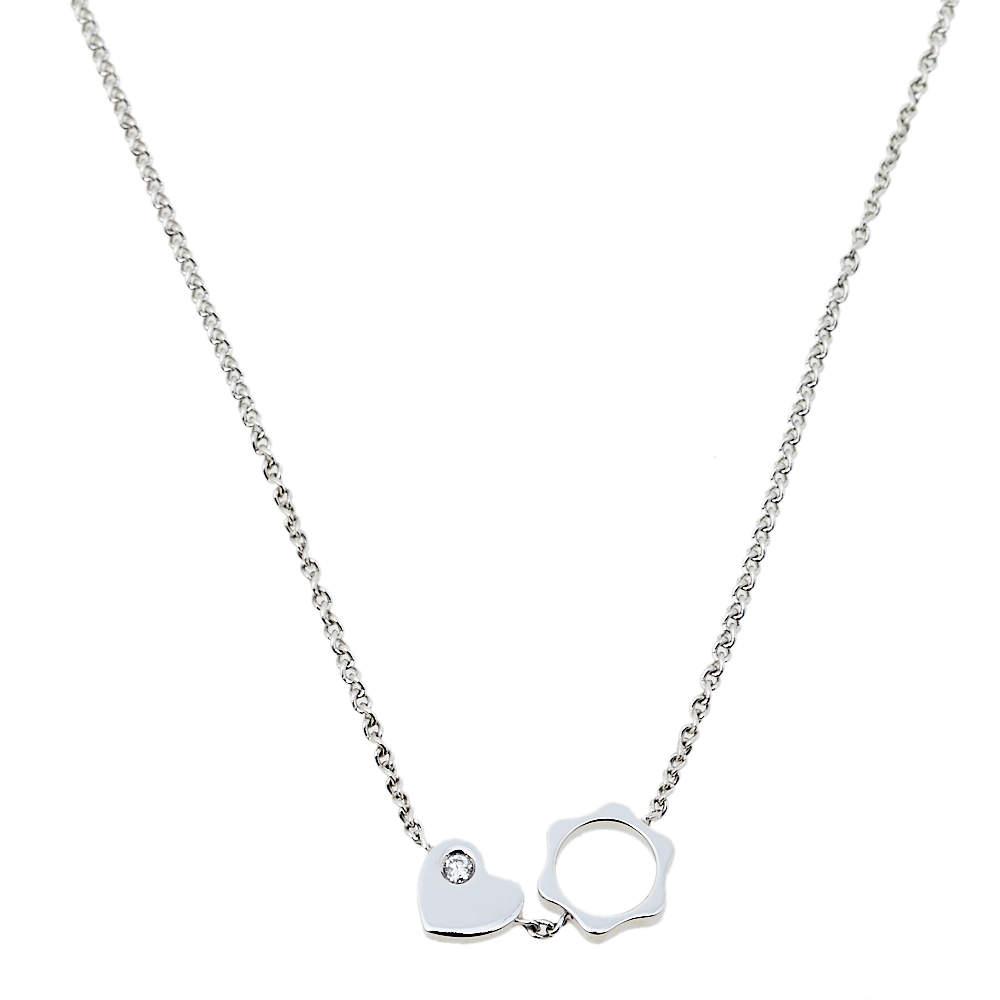 Montblanc Star Diamond Heart Charm 18K White Gold Necklace