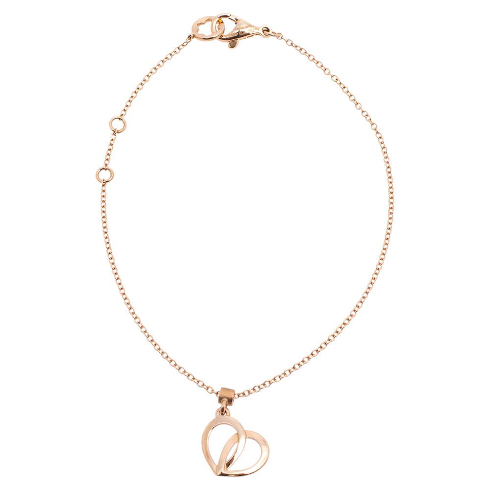 Montblanc Coeur de Pétales Entrelacés 18K Rose Gold Heart Charm Bracelet