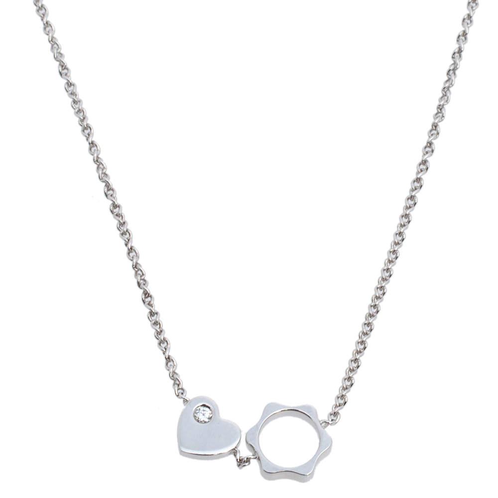 Montblanc Star Heart Charm Diamond 18K White Gold Necklace