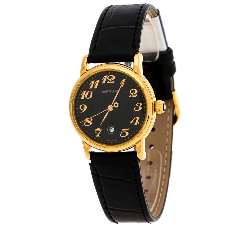 Montblanc Black Gold-Plated Stainless Steel Meisterstuck 7005 Women's Wristwatch 32MM