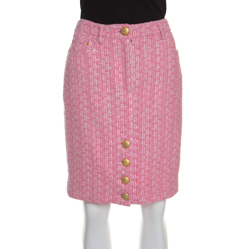 Moschino Couture Pink Raffia and Boucle Tweed Pencil Skirt M