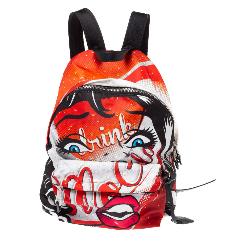 Moschino Multicolor Nylon and Leather Moschino Eyes Capsule Backpack