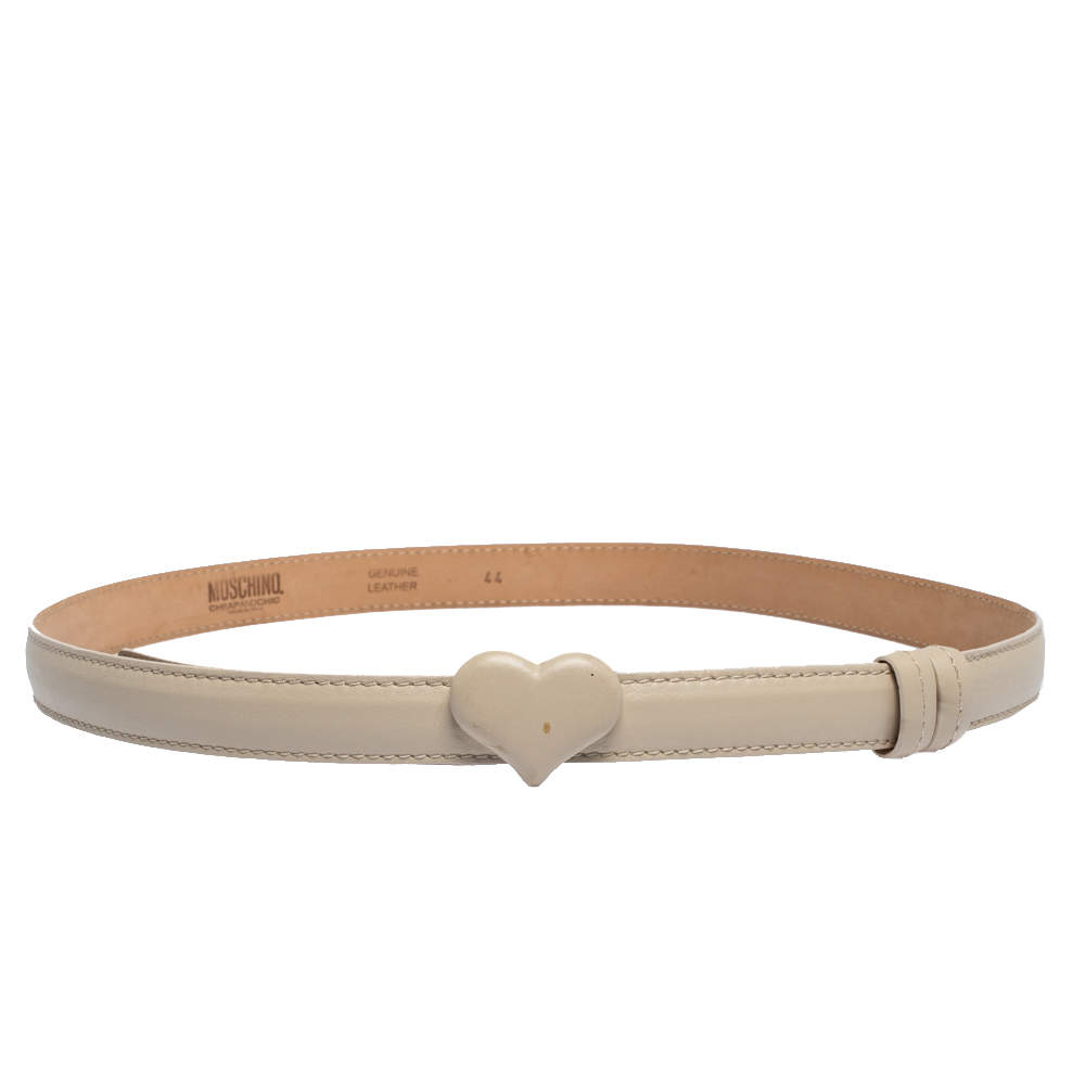 Moschino Ivory Leather Heart Buckle Belt 110CM