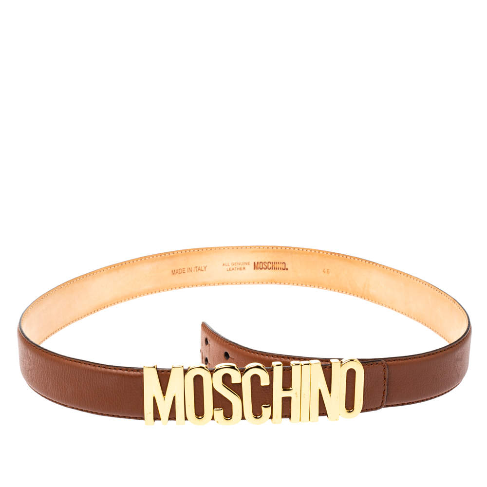 Moschino Brown Leather Logo Belt 105 CM