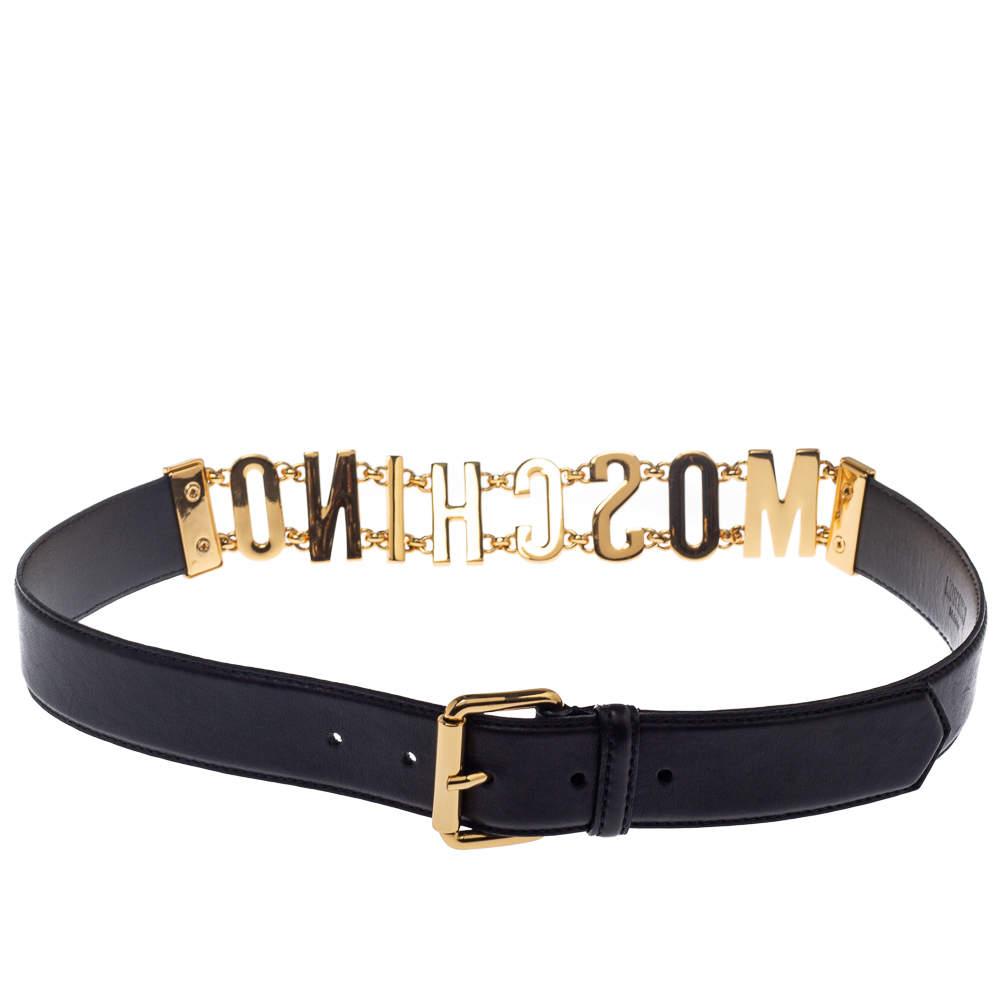 Moschino Black Leather Logo Chain Belt 85CM
