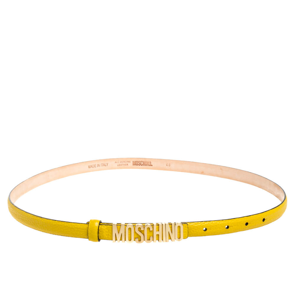 Moschino Yellow Textured Leather Logo Slim Waist Belt 95CM