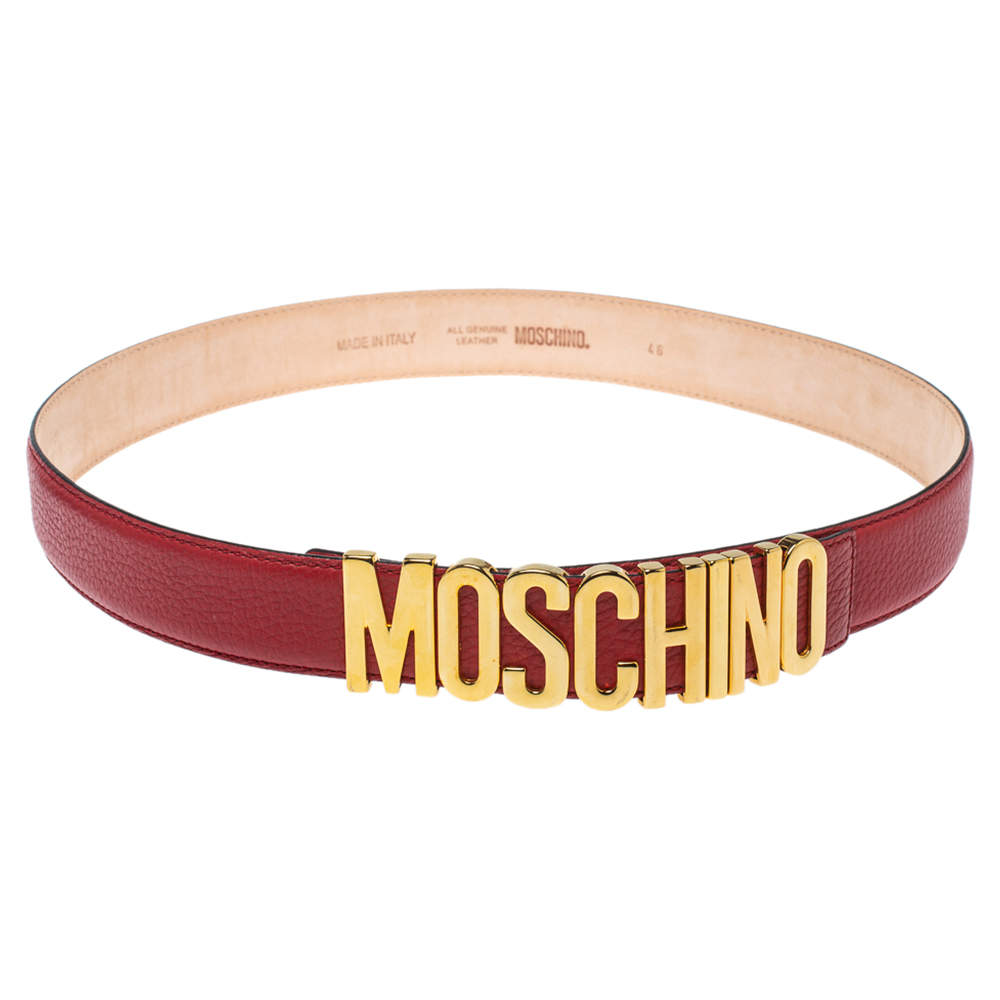 Moschino Red Leather Classic Logo Belt 95CM
