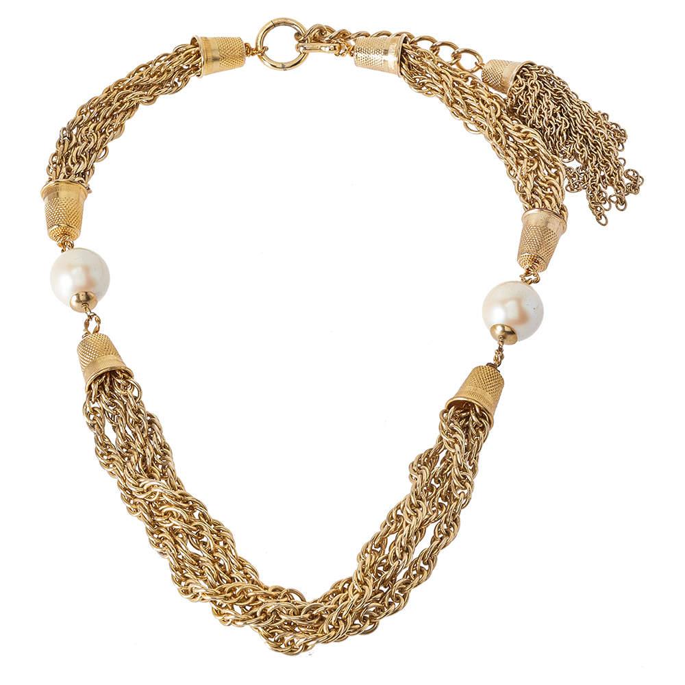 Moschino Vintage Gold Tone Tasseled Thimble Necklace