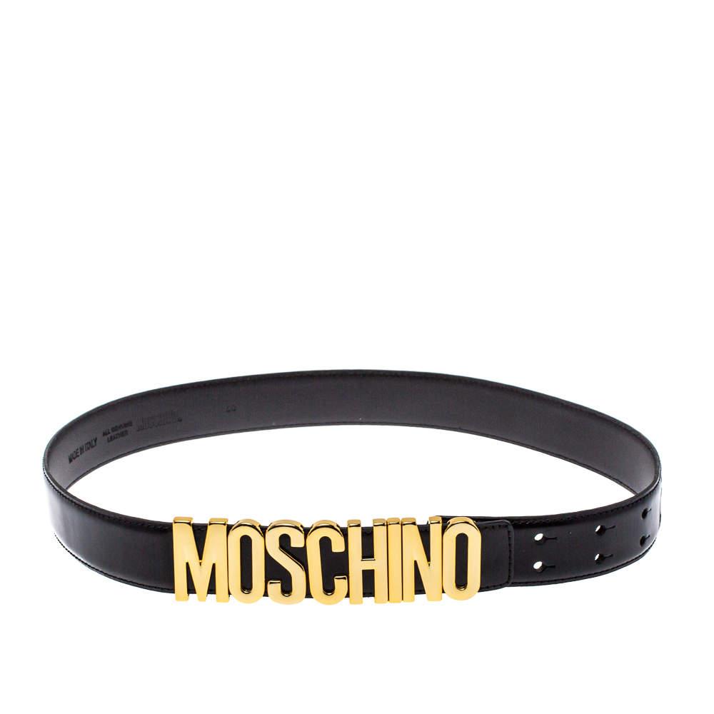 Moschino Black Leather Redwall Logo Waist Belt 80CM