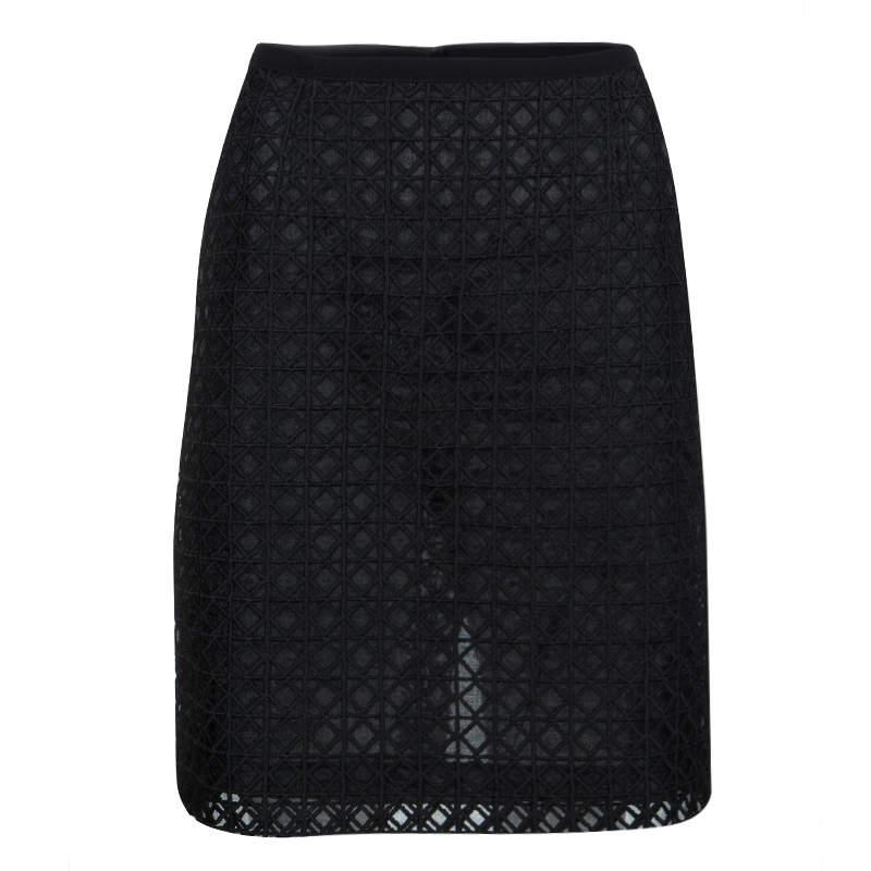 Moschino Black Geometric Embroiderd Organza Skirt M