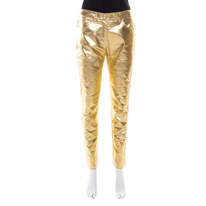 Moschino Couture Metallic Gold Cotton Stretch Tapered Jeans M