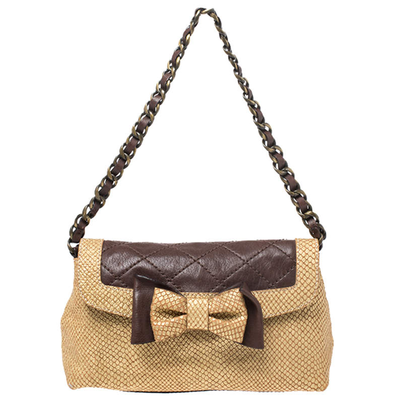 Moschino Gold/Brown Quilted and Snakeskin Embossed Leather Bow Flap Shoulder Bag