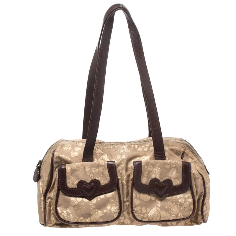 Moschino Metallic Gold/Brown Heart Canvas and Leather Boston Bag