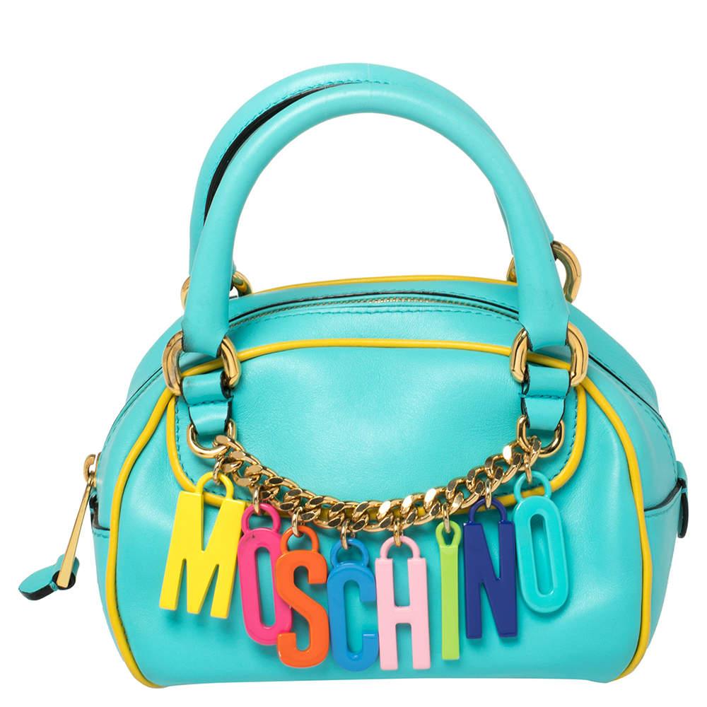 Moschino Turquoise/Yellow  Leather Logo Charm Satchel