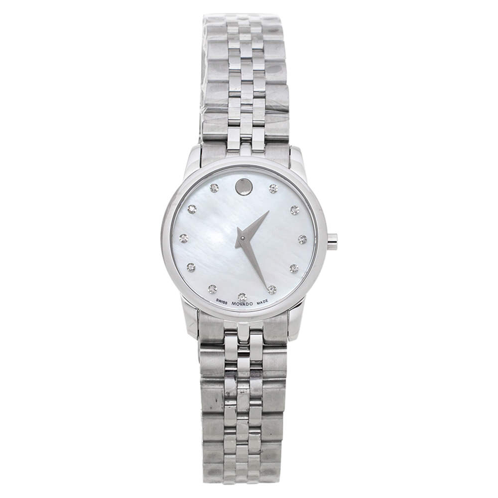 Movado Mother Of Pearl Stainless Steel Diamond Museum 07.3.14.1143 Women's Wristwatch 28 mm