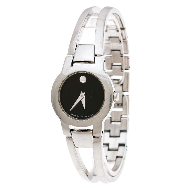 Movado Black Stainless Steel Amorosa 84 E4 1842 Women's Wristwatch 24 mm