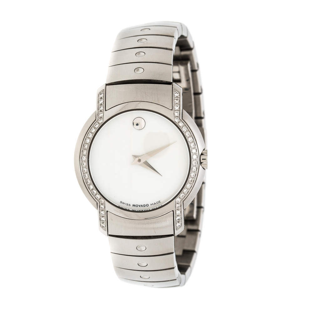 Movado White Mother of Pearl Stainless Steel Diamonds SL 84 G4 1832 S Women's Wristwatch 28mm
