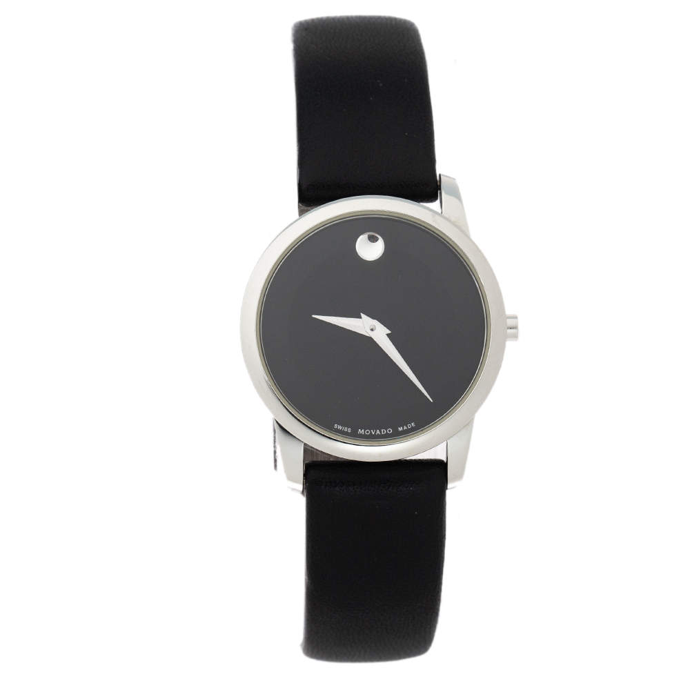Movado Black Stainless Steel Leather Museum 07.3.14.1143 Women's Wristwatch 28 mm