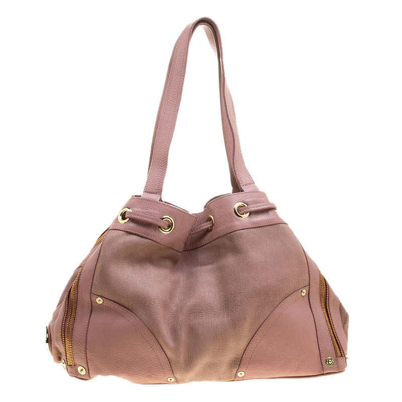 Mulberry Pink Leather Drawstring Tote