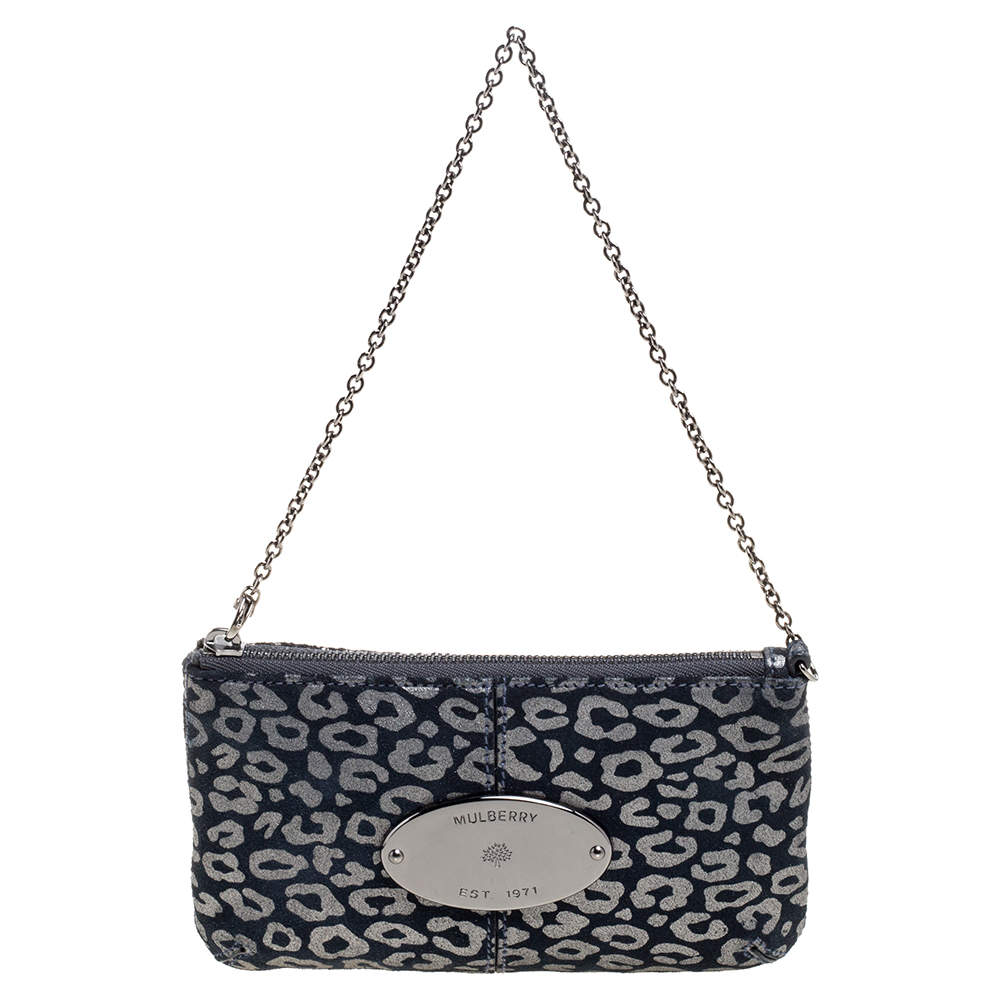 Mulberry Navy Blue/Silver Printed Suede Chain Wristlet Clutch
