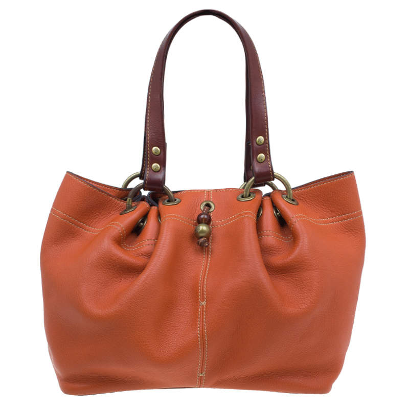 Mulberry Orange Matt Glove Leather Judy Tote Bag