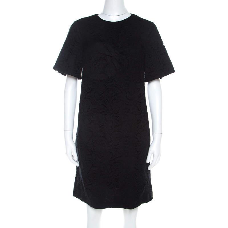 N21 Black Lace Knot Detail Short Sleeve Shift Dress M