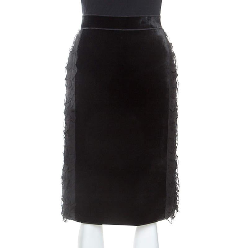 N21 Black Velvet Ruffle Trim Sheath Skirt S