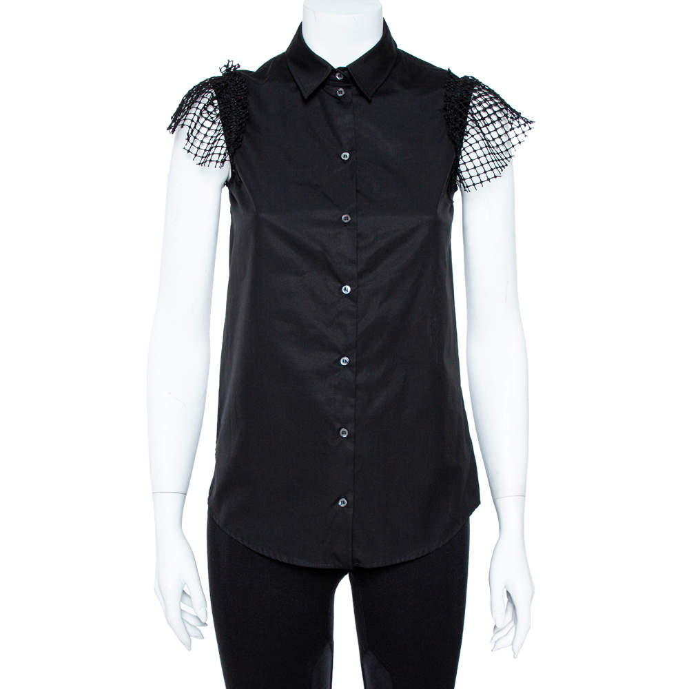 N21 Black Cotton Grid Lace Paneled Feather Trim Shirt XS