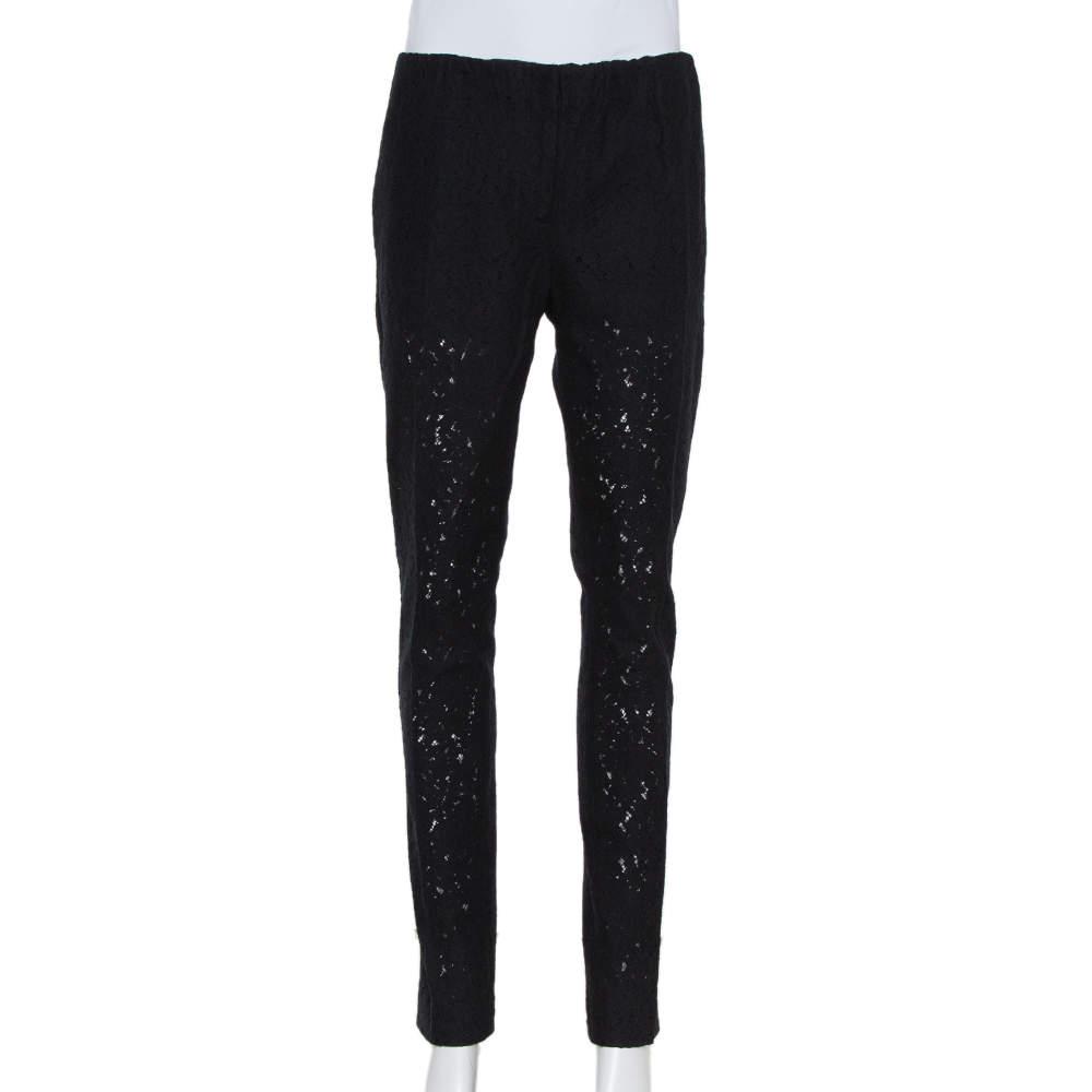 N21 Black Lace Elastic Waist Detail Tapered Leg Trousers S