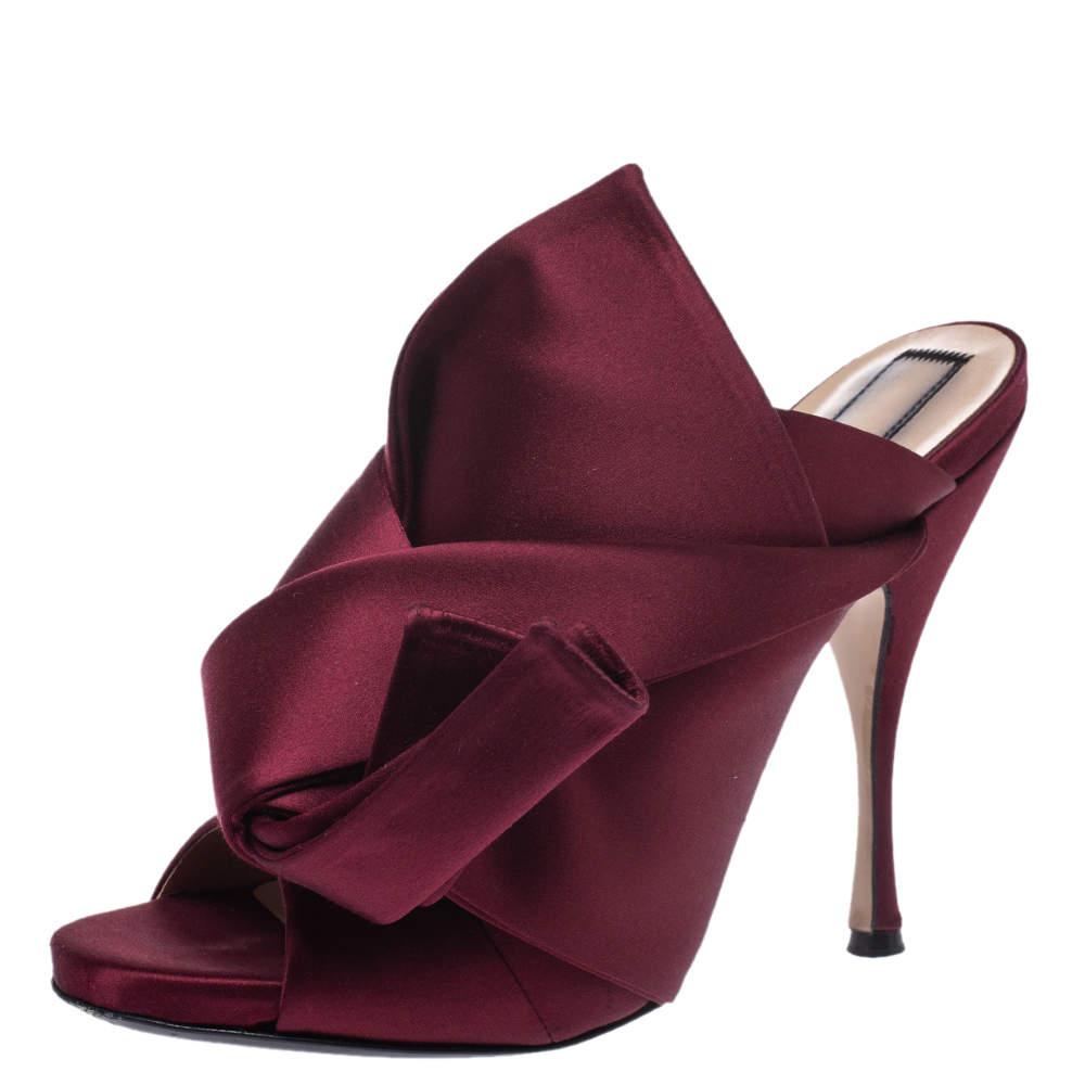 """حذاء سلايد """"إن21"""" """"راسو"""" مزين بعقدة و بمقدمة مفتوحة ساتان عنابي مقاس 40"""