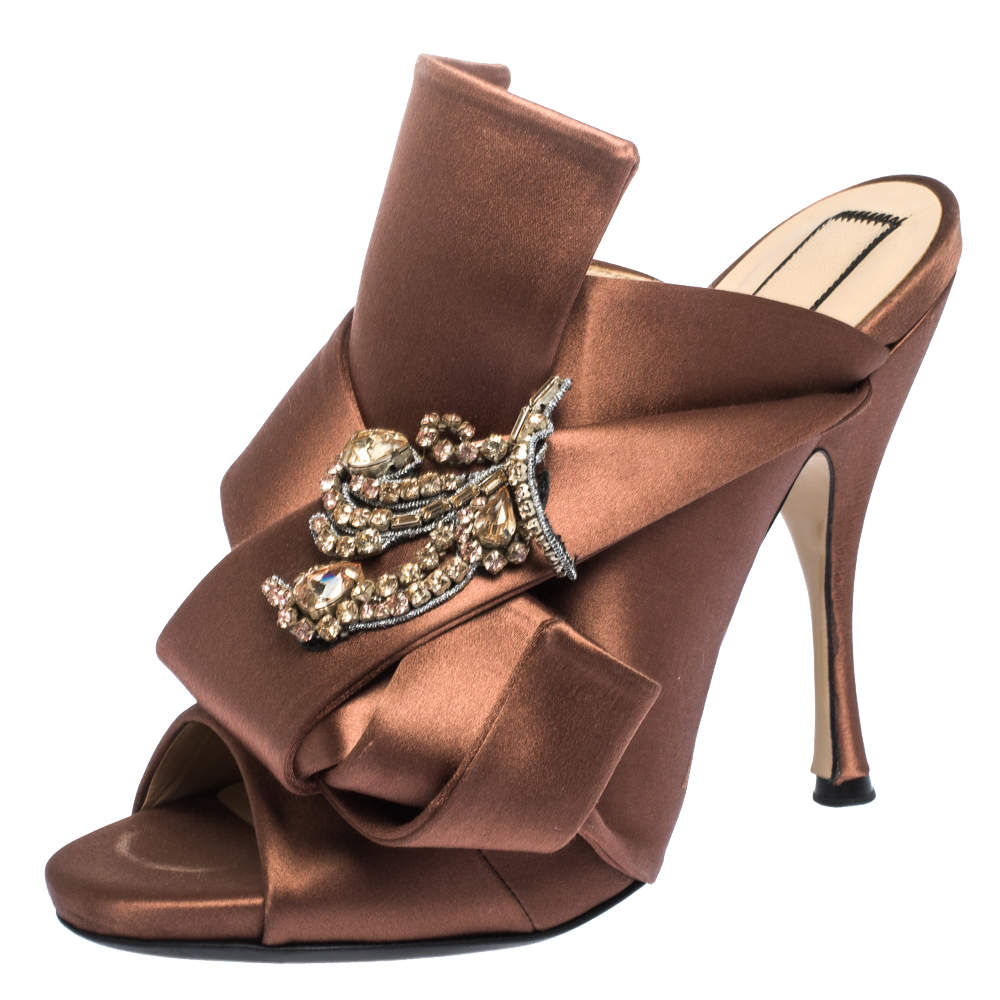 N21 Brown Embellished Satin Knot Mules Sandals Size 38
