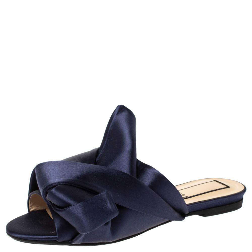 حذاء إن21 فلات مولز عقدة ساتان أزرق مقاس 36
