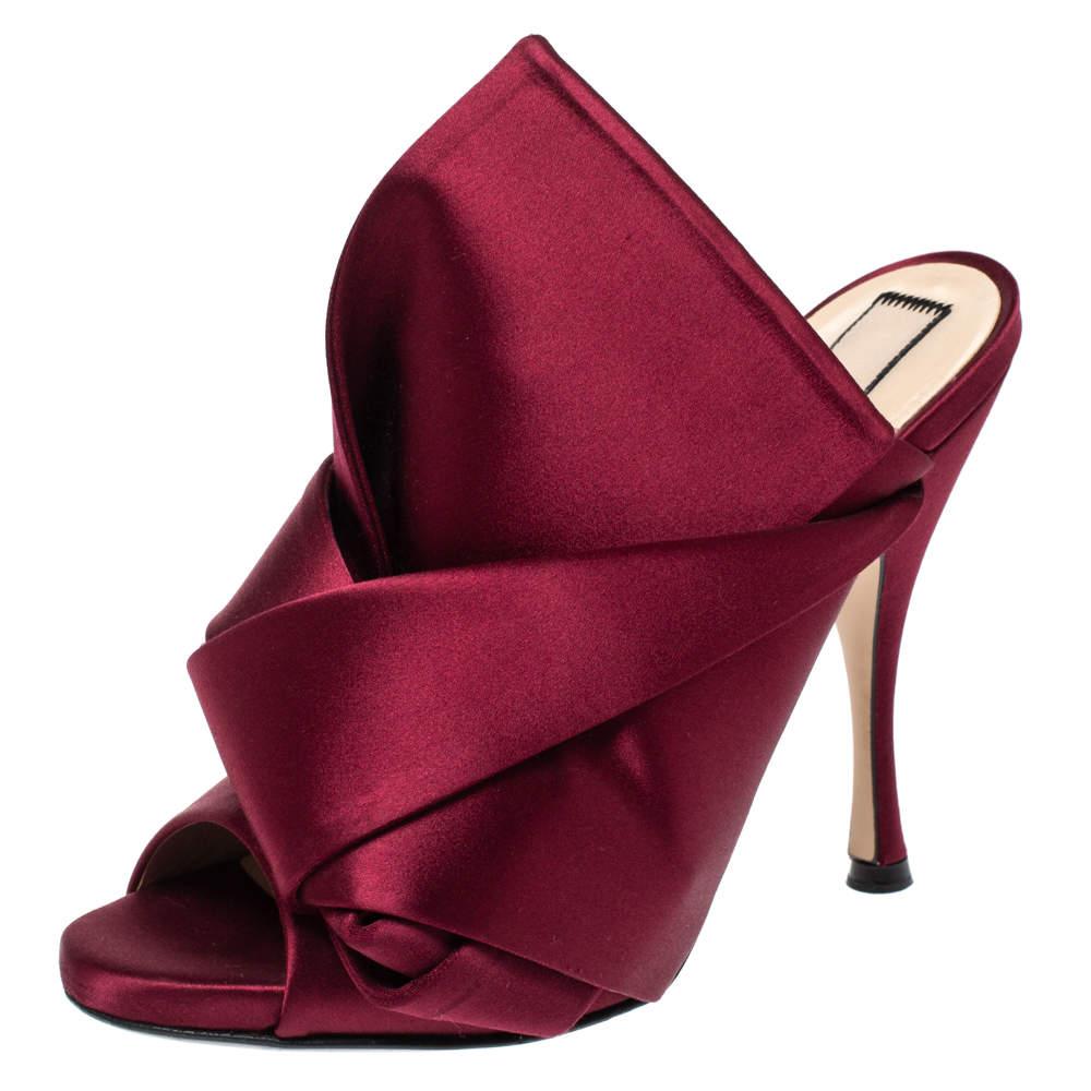 """حذاء مولز """"إن21"""" """"راسو"""" مزين بعقدة و بمقدمة مفتوحة راسو ساتان عنابي مقاس 38"""