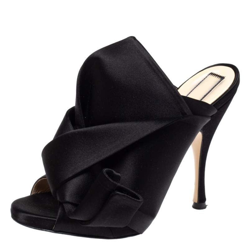 N21 Black Satin Raso Knot Peep Toe Mules Size 37